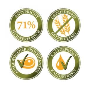 vier Zechen: 71 % Hühnerfleisch, getreidefrei, ausgewogener Proteinanteil und kaltgepresst