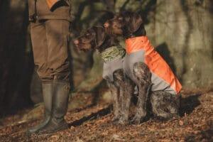 Hurtta Worker Vest Arbeitsweste grün camouflage und orange camouflage am Hund